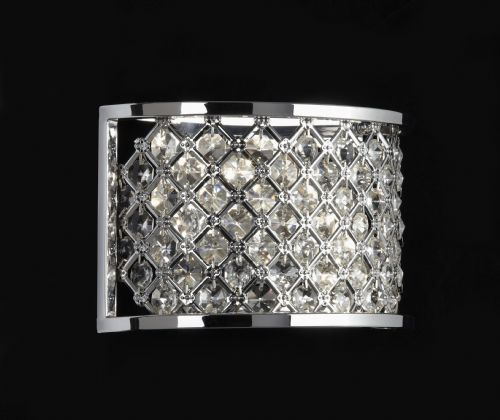 2 Light Wall Bracket In Chrome With Crystal Beads HUDSON-2WBCH
